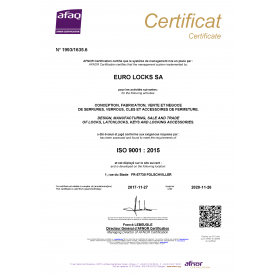 Euro-Locks certifié ISO 9001, version 2015